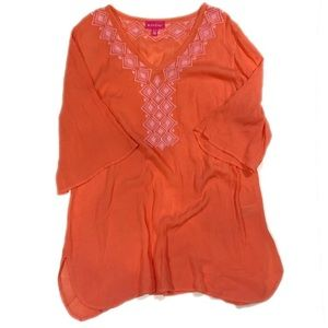 Lilly Pulitzer Target Orange Embroidered Tunic-XL